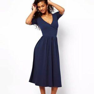 ASOS ballet wrap midi / knee length dress blue XS